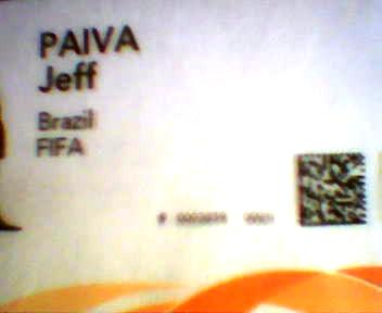 Credencial da Copa 2006, com o QR-Code à direita.